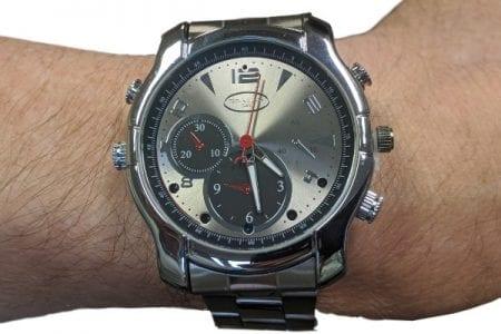 spy watch on wrist